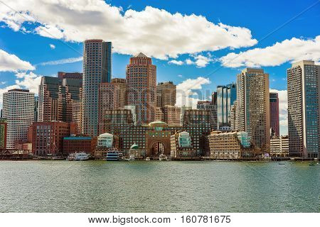 Skyline Of The Financial District In Boston Behind The River
