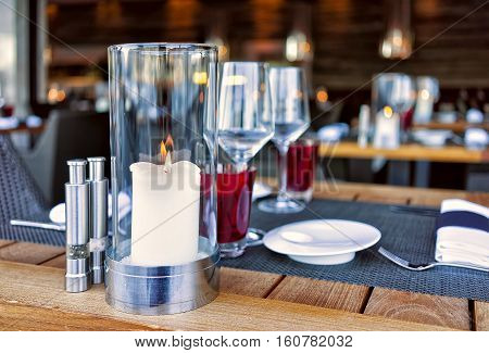 Typical Restaurant Terrace In Ascona Expensive Resort