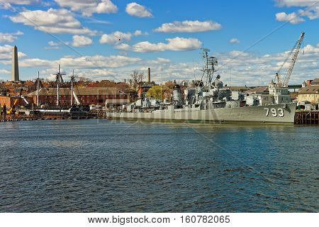 Uss Cassin Young Moored At The Boston Navy Yard