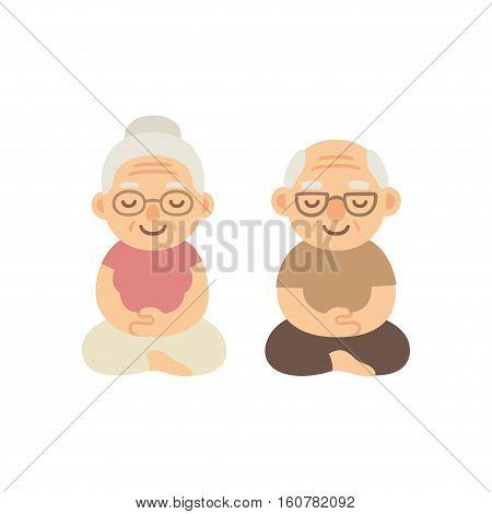 Meditating senior couple. Cute cartoon old people sitting in meditation. Healthy lifestyle illustration.