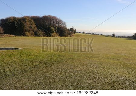 1ST DECEMBER 2016,PORTSMOUTH, ENGLAND;A fairway on a golf course during the early morning sunshine in Portsmouth, England,1st december 2016