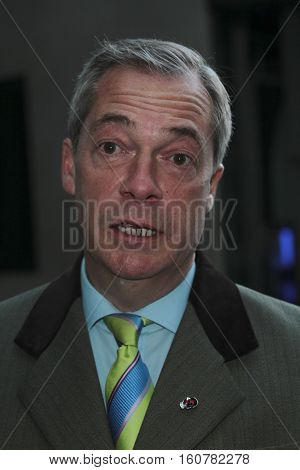 LONDON, UK, NOV 6, 2016: Nigel Farage arriving for the Andrew Marr show at the BBC studio's picture taken from the street