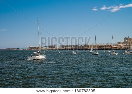 Yachts In Charles River In Boston