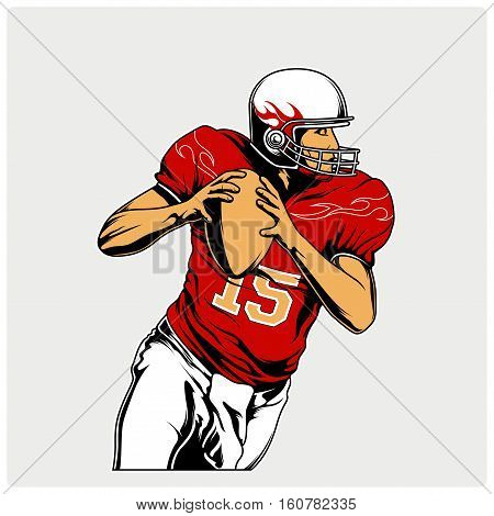 Illustration vector of Americaan football. The player runs away with the ball.