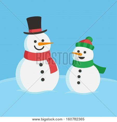 Snowman family illustration. Two cute cartoon snowmen dad and child.