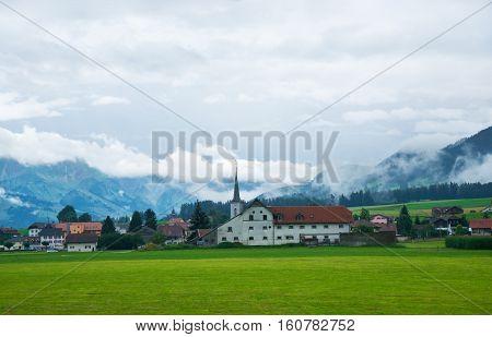 Church In Charmey Village On Prealps In Gruyere Fribourg Switzerland