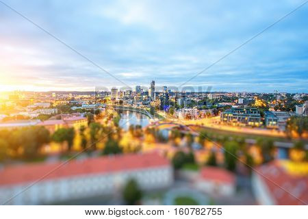 Vilnius cityscape view from the castle hill during the sunset in Lithuania. Wide angle photo with tilt-shift technic