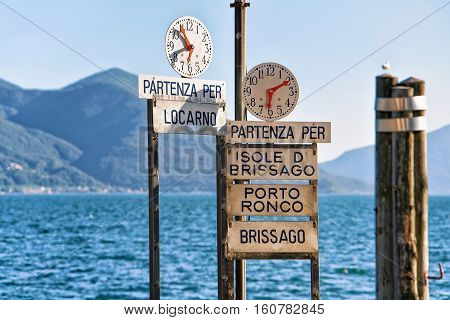 Clock At Pier Of Ascona Resort Of Ticino Canton Switzerland