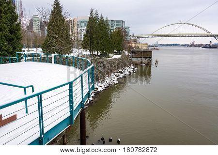 Snowy Portland And Fremont Bridge