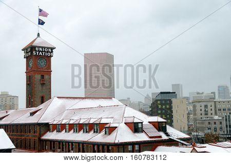 Portland Snowy Cityscape