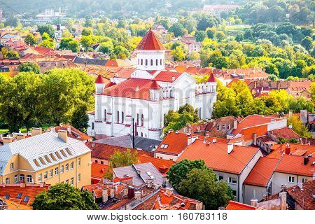 Cityscape top view on the old town with orthodox church in Vilnius, Lithuania