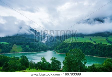 Lake Montsalvens At Prealps In Gruyere District Canton Fribourg Switzerland