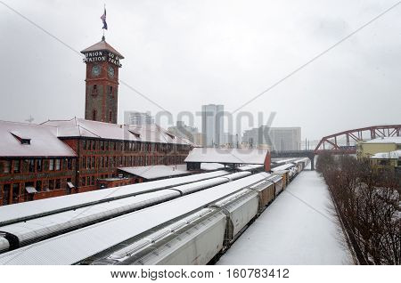 Train Station And Snow