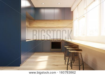 Front View Of Blue Kitchen, Toned