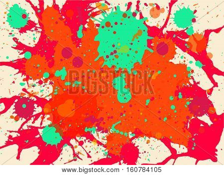 Vibrant bright orange red and green paint artistic multicolor splashes background horizontal format.