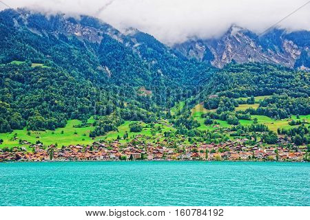 Panorama With Brienz Lake And Brienzer Rothorn Mountain Bern Switzerland