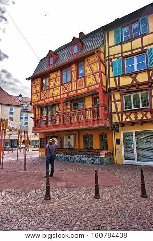 Rue Des Tetes Street In Colmar In Alsace Of France