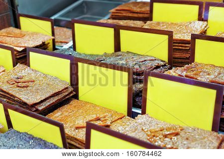 Stall With Traditional Dry Meat Food Macao