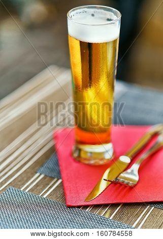 Typical Glass Of Beer In Resort Ascona Ticino Switzerland