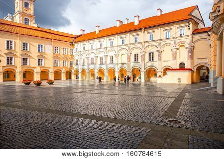 Vilnius, Lithuania - September 21, 2016: View on the inner yard of Vilnius university. It is one of the oldest university in Northern Europe and the largest one in Lithuania.