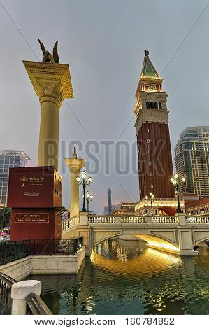 Venetian Macau Casino And Hotel Luxury Resort Of Macao Evening