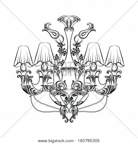 Exquisite Fabulous Imperial Baroque chandelier. Vector French Luxury rich intricated ornamented structure. Victorian Royal Style decor