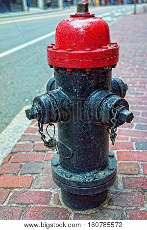 Fire plug on the street in Boston, MA, USA