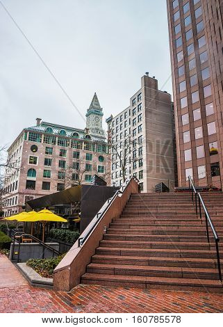 Financial District And Custom House Tower In Faneuil Hall Square