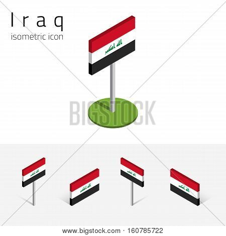 Iraqi flag (Republic of Iraq) vector set of isometric flat icons 3D style different views. 100% editable design elements for banner website presentation infographic poster map. Eps 10