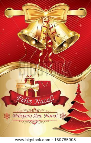 Portuguese greeting card with golden bells for winter season 2017. Merry Christmas and a Happy New Year (Portuguese wishes). Print colors used. Size of a custom postcard.