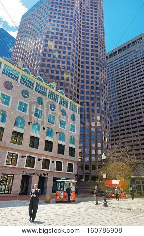 Modern Buildings At Faneuil Hall Square At Downtown Boston