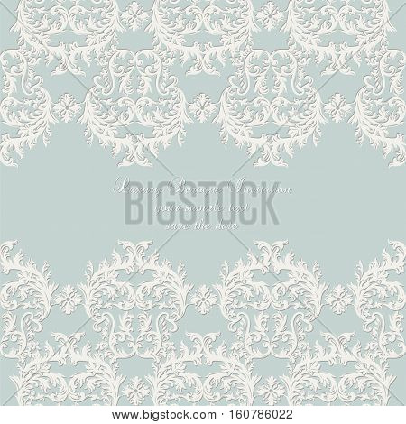 Vector Damask Lace Invitation card with floral ornament. Delicate intricate decorated card for wedding ceremonies, anniversary, party, events. White and blue color