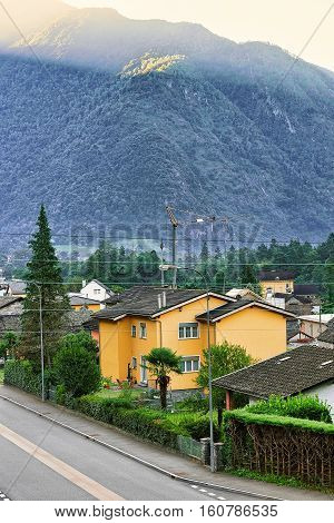 Road In Aurigeno In Ticino Switzerland