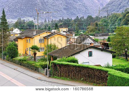 Road In Aurigeno In Ticino Of Switzerland