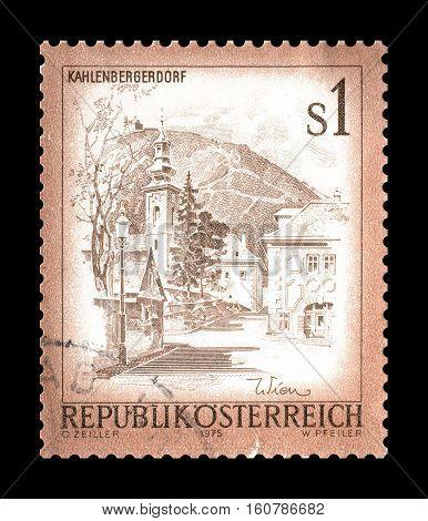 AUSTRIA - CIRCA 1975 : Cancelled stamp printed by Austria, that shows Kahlenbergerdorf.