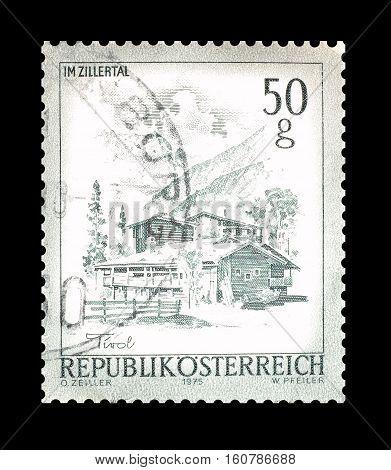 AUSTRIA - CIRCA 1975 : Cancelled stamp printed by Austria, that shows Tirol.