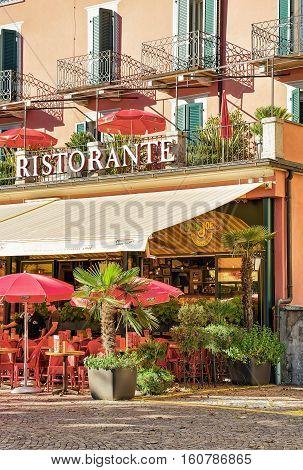 Street Restaurant In Ascona Town In Switzerland