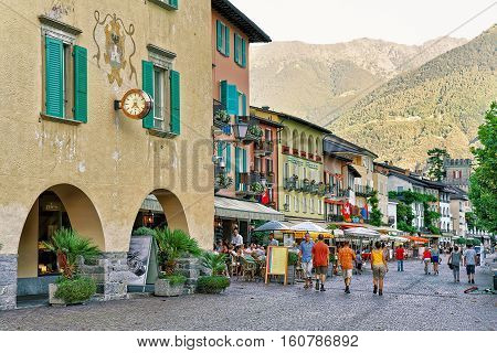 Street Restaurants In Ascona Town In Swiss