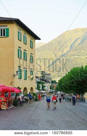 Street Restaurants In Ascona Town Of Swiss