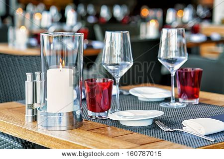 Typical Restaurant Terrace In Switzerland