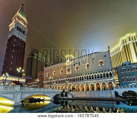 Venetian Macao Casino And Luxury Resort Of Evening Macau China
