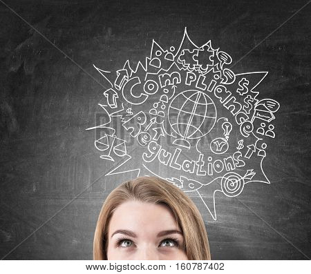 Close up of a blond woman's head near a blackboard with a compliance and regulations sketch depicted on it. Concept of following the rules of international trade