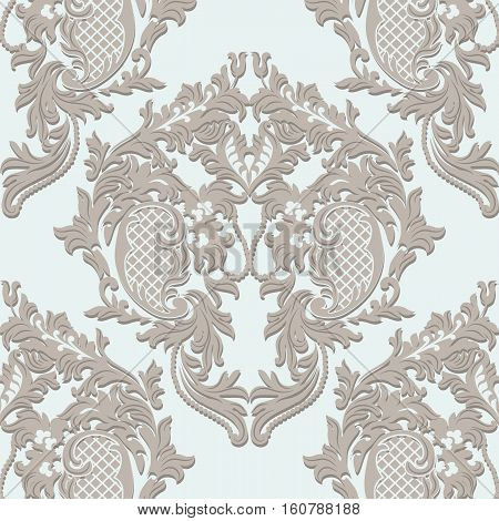 Vector Damask Lace floral ornament. Delicate intricate decorated for wedding ceremonies, anniversary, party, events. Beige color