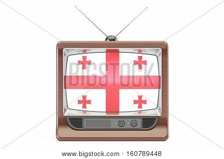 old tv with flag of Georgia. Georgian Television concept 3D rendering