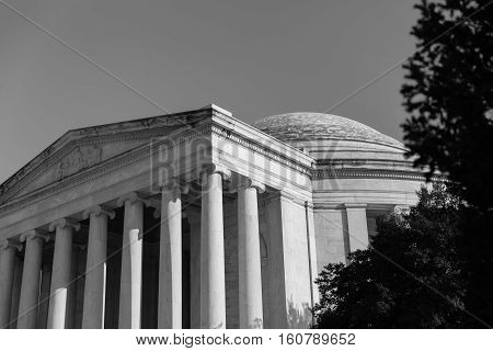 Black and White Thomas Jefferson Memorial in Washington DC