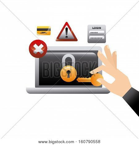 laptop computer and hand holding a key.cyber security concept. colorful design. vector illustration