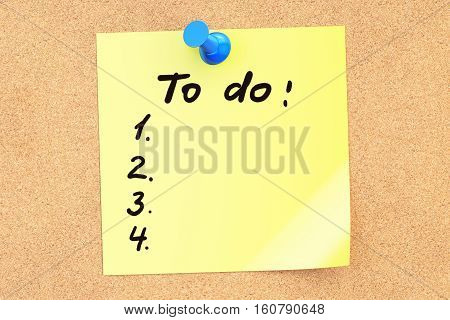 To do text on a sticky note pinned to a corkboard. 3D rendering