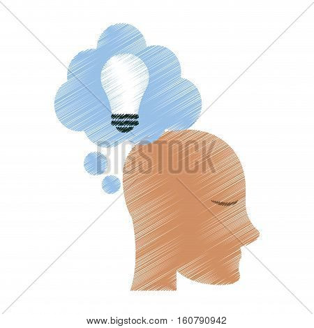 drawing profile head idea cloud vector illustration eps 10
