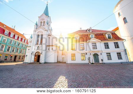 View on the roman catholic church on the sunset in the old town of Riga, Latvia