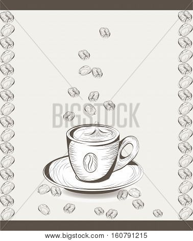 Cup of coffee with coffee beans. Vector illustration engraved sketch style. Old engraving Hand drawn technique